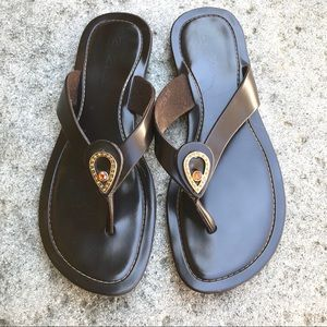 Rindi Thong Sandals Brown Leather